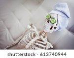 skeleton in spa salon with... | Shutterstock . vector #613740944