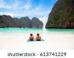 female tourist laying at phi...   Shutterstock . vector #613741229