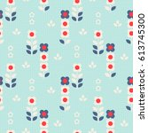 seamless retro pattern with... | Shutterstock .eps vector #613745300