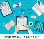 top view of doctor workplace ... | Shutterstock . vector #613745414