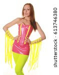 Small photo of Pretty Gogo Night Club Dancer Girl Costume Catalog on White Background