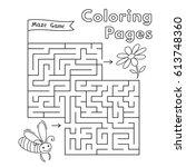 cartoon bee maze game. vector... | Shutterstock .eps vector #613748360