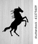 vector  silhouette on wood... | Shutterstock .eps vector #61375609
