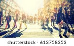 crowd of anonymous people... | Shutterstock . vector #613758353