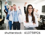 portrait of group of successful ... | Shutterstock . vector #613758926