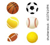 sports balls. set for soccer... | Shutterstock .eps vector #613761494
