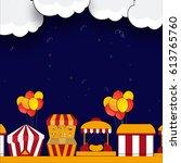 kids carnival or funfair... | Shutterstock .eps vector #613765760