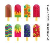 popsicle ice cream flat vector | Shutterstock .eps vector #613774946