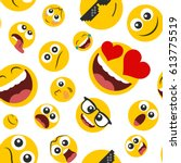 pattern of emoticons set  in a... | Shutterstock .eps vector #613775519