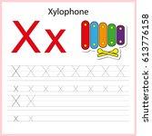 writing a z  alphabet ... | Shutterstock .eps vector #613776158