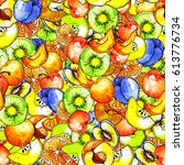 seamless pattern with a pattern ... | Shutterstock . vector #613776734