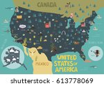 illustration map of usa with... | Shutterstock .eps vector #613778069