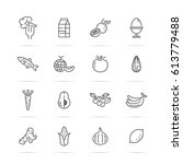 healthy food vector line icons  ... | Shutterstock .eps vector #613779488