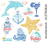 set of hand drawn watercolor... | Shutterstock .eps vector #613783826