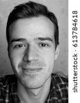 black and white portrait of... | Shutterstock . vector #613784618