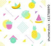summer seamless pattern with... | Shutterstock .eps vector #613788890