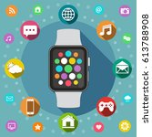 smart watch with icons flat...   Shutterstock . vector #613788908