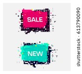 vector set of glitch banners... | Shutterstock .eps vector #613790090