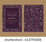 wedding invitation. floral... | Shutterstock .eps vector #613793306