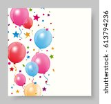 colorful birthday balloon with... | Shutterstock .eps vector #613794236