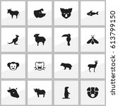 set of 16 editable zoo icons.... | Shutterstock . vector #613799150