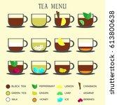 set of tea menu icons.... | Shutterstock .eps vector #613800638