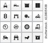 set of 16 editable vehicle... | Shutterstock .eps vector #613805438
