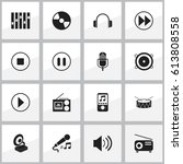 set of 16 editable sound icons. ... | Shutterstock .eps vector #613808558