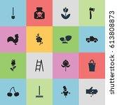 set of 16 editable plant icons. ...