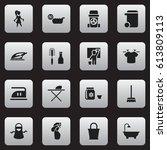 set of 16 editable hygiene...   Shutterstock .eps vector #613809113