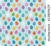 easter eggs seamless pattern.... | Shutterstock .eps vector #613809629