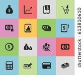 set of 16 editable banking... | Shutterstock .eps vector #613810610