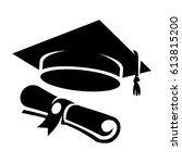 graduation cap and diploma web... | Shutterstock .eps vector #613815200