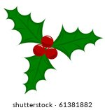 Symbolic Christmas holly berry vector illustration - stock vector