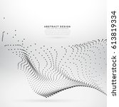 digital particles wave mesh... | Shutterstock .eps vector #613819334