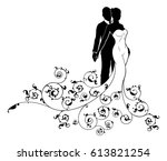 wedding concept of bride and... | Shutterstock .eps vector #613821254