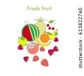 flat style banner fresh fruit... | Shutterstock .eps vector #613822760