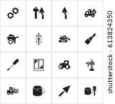 set of 16 editable building... | Shutterstock .eps vector #613824350