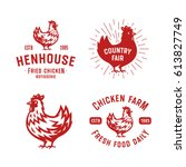 set of retro chicken emblems ... | Shutterstock .eps vector #613827749