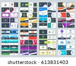 collection of double sided... | Shutterstock .eps vector #613831403