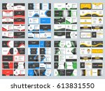 collection of double sided... | Shutterstock .eps vector #613831550
