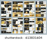 collection of double sided... | Shutterstock .eps vector #613831604
