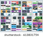 collection of double sided... | Shutterstock .eps vector #613831754