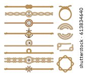 nautical vintage rope vector... | Shutterstock .eps vector #613834640