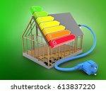 3d illustration of house frame... | Shutterstock . vector #613837220