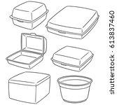 vector set of foam container | Shutterstock .eps vector #613837460