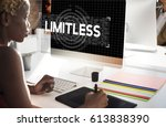 limitless time unlimited... | Shutterstock . vector #613838390