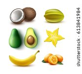 vector set of whole and half... | Shutterstock .eps vector #613841984