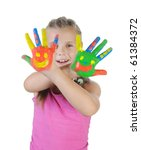 little girl with the palms... | Shutterstock . vector #61384372
