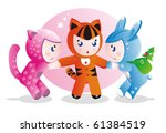 Children in costumes for the eastern calendar years - the tiger, the rabbit and the cat. - stock vector